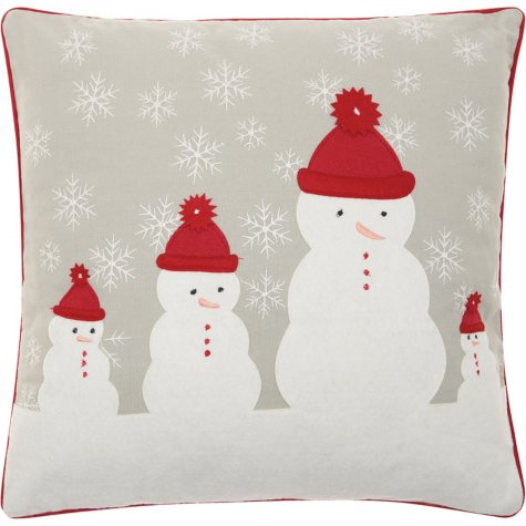 Mina Victory Home For The Holiday Four Snowmen Red Throw Pillow