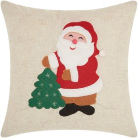 2d27f9d5e6600 Mina Victory Home For The Holiday Felt Santa Natural Throw Pillow