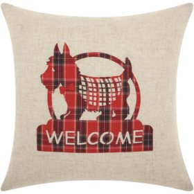 Mina Victory Home For The Holiday Welcome Scottie Natural Throw Pillow