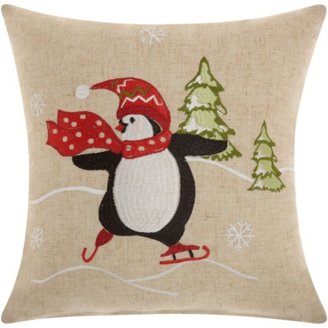 Mina Victory Home For The Holiday Penguin Natural Throw Pillow