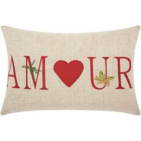Mina Victory Home For The Holiday Amour Holiday Natural Throw Pillow