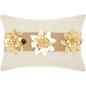 Mina Victory Home For The Holiday Three Pointsettia Gold Throw Pillow