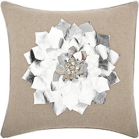 Mina Victory Home For The Holiday Metallic Pointsettia Silver Throw Pillow