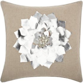 Mina Victory Home For The Holiday Metallic Pointsettia Silver Throw Pillow