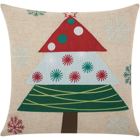 Mina Victory Home For The Holiday Festive Holiday Tree Natural Throw Pillow