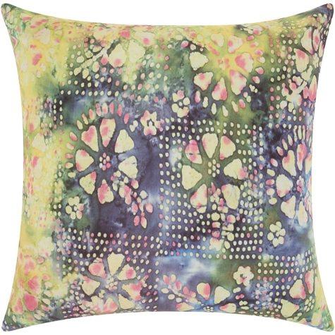 Mina Victory Watercolor Petals Multicolor Outdoor Throw Pillow