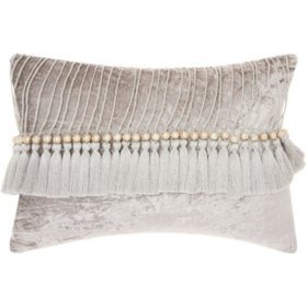 Mina Victory Life Styles Velvet Tassels Throw Pillow, Grey