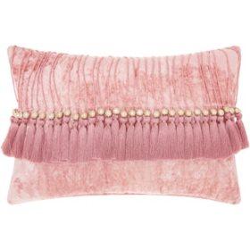 Mina Victory Life Styles Velvet Tassels Throw Pillow, Rose
