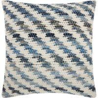 Mina Victory Life Styles Woven Diagonal Denim Throw Pillow
