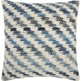 Mina Victory Life Styles Woven Diagonal Denim Throw Pillow