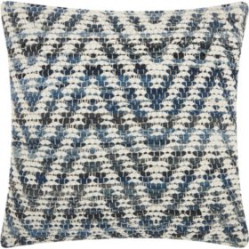 Mina Victory Life Styles Woven Chevron Denim Throw Pillow