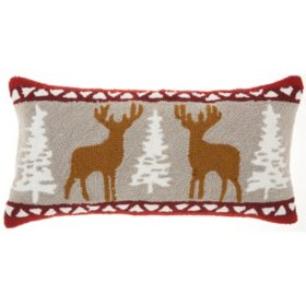 Mina Victory Home For The Holiday Holiday Deers Multicolor Throw Pillow