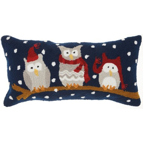 Mina Victory Home For The Holiday Three Owls on a Branch Multicolor Throw Pillow