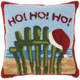 Mina Victory Home For The Holiday Ho Ho Ho on the Beach Multicolor Throw Pillow
