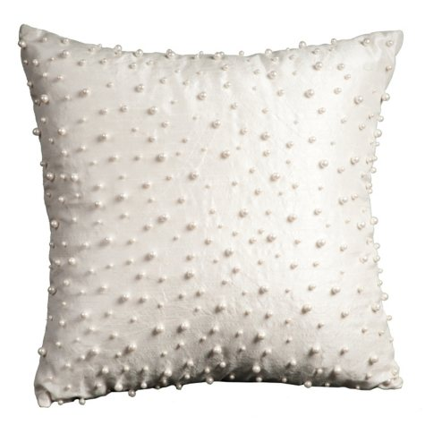 "Ivory Random Pearls 12"" x 12"" Decorative Pillow By Nourison"