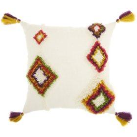 Mina Victory Life Styles Textured Diamonds Throw Pillow, Multicolor