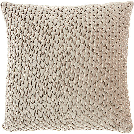 Mina Victory Life Styles Pleated Velvet Throw Pillow, Beige by Mina Victory
