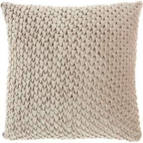 Mina Victory Life Styles Pleated Velvet Throw Pillow, Beige