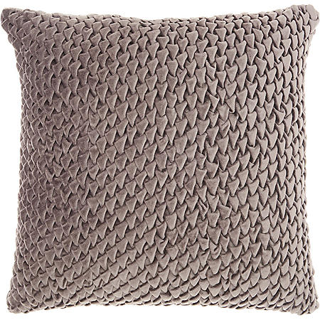 Mina Victory Life Styles Pleated Velvet Throw Pillow, Dark Grey