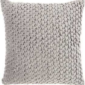 Mina Victory Life Styles Pleated Velvet Throw Pillow, Light Grey