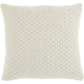Mina Victory Life Styles Pleated Velvet Throw Pillow, Cream