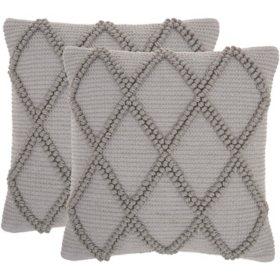 "Mina Victory Diamond Lattice Lifestyle Pillows, Set of 2 (18"" X 18"")"