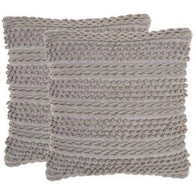 "Mina Victory Woven Stripes Lifestyle Pillows, Set of 2 (18"" X 18"")"