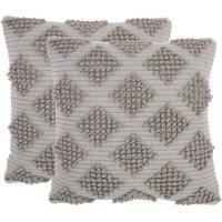 "Mina Victory Woven Diamonds Lifestyle Pillows, Set of 2 (18"" X 18"")"