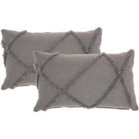 "Mina Victory Distressed Diamond Pillows, Set of 2 (14"" x 28"")"