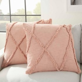"Mina Victory Distressed Diamond Pillows, Set of 2 (24"" x 24"")"
