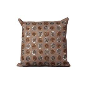 "Taupe Sequin Circles 20"" x 20"" Decorative Pillow By Nourison"