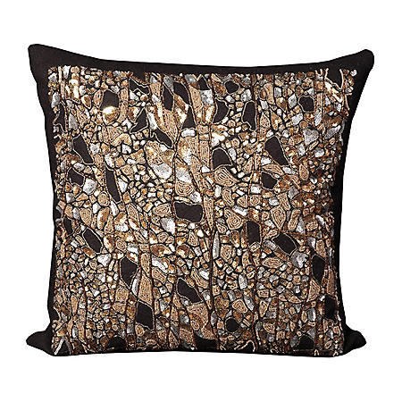 """Black Beaded Branches 20"""" x 20"""" Decorative Pillow By Nourison"""
