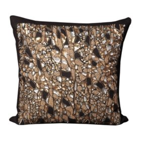 "Black Beaded Branches 20"" x 20"" Decorative Pillow By Nourison"
