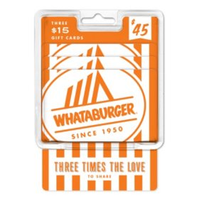 Whataburger $45 Value Gift Cards - 3 x $15