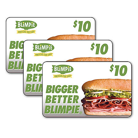 Blimpie Subs $30 Value Gift Cards - 3 x $10
