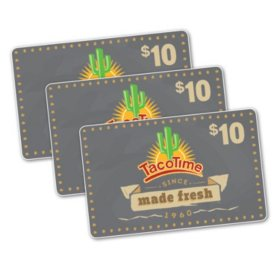 Taco Time $30 Value Gift Cards - 3/$10