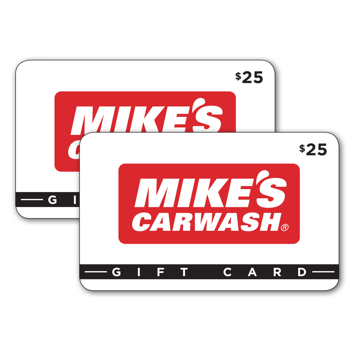 $50 (2 x $25) Mike's Carwash Gift Cards