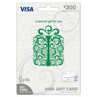 Vanilla Visa Specialty Scroll Box Green $200 Gift Card