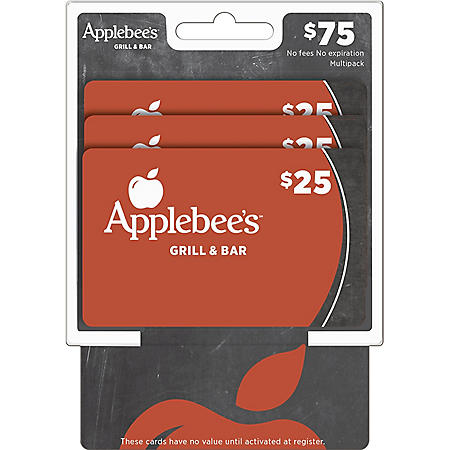 Applebee's $75 Multi-Pack - 3/$25 Gift Cards