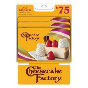 The Cheesecake Factory $75 Multi-Pack - 3/$25 Gift Cards