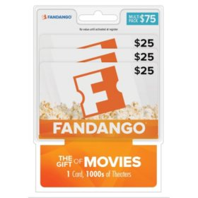 Fandango Movies $75 Multi-Pack - 3/$25 Gift Cards