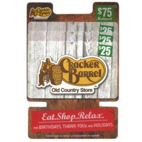 Cracker Barrel $75 Multi-Pack - 3/$25 Gift Cards