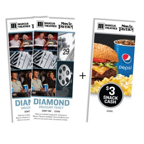 Marcus Theatres Gift Card - 2 Tickets and Free $3 Snack Cash $16.98