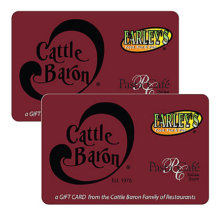 Cattle Baron Steakhouse (TX, NM) $50  Gift Cards - 2/$25