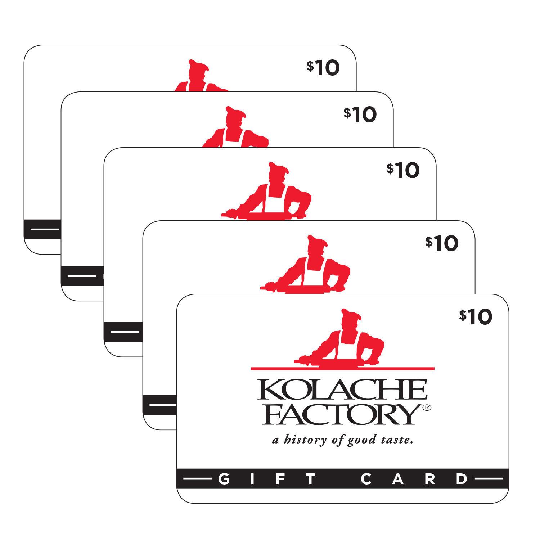 $50 (5 x $10) Kolache Factory Gift Cards