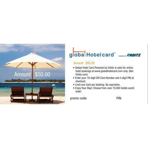 Global Hotel $100 Multi-Pack - 2/$50 Gift Cards for $72.98