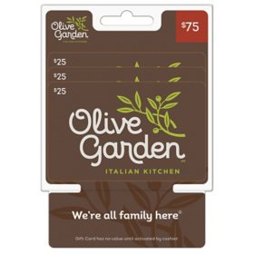 Olive Garden $75 Value Gift Cards - 3 x $25