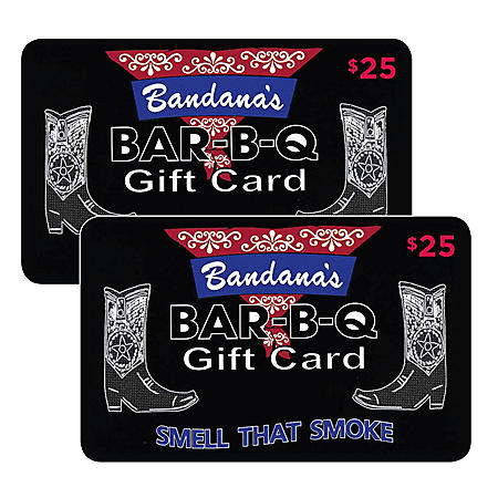 Bandana's BBQ $50 Value Gift Cards - 2 x $25