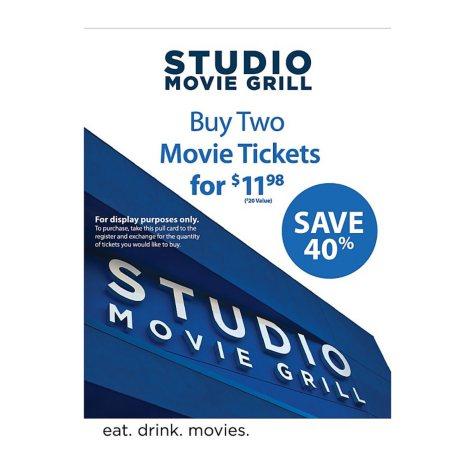 Studio Movie Grill - 2 Movie Tickets for $11.98
