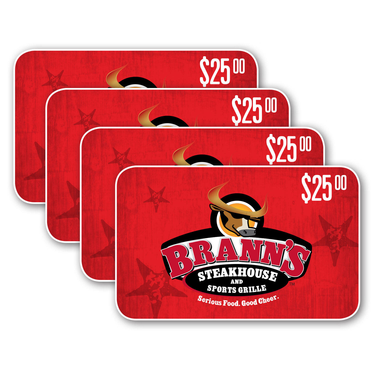 $100 (4 x $25) Brann's Steakhouse & Sports Grille Gift Cards